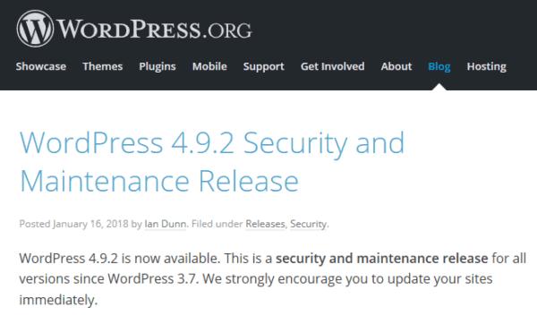 WordPress4.9.2リリース!Web担当者がまずすべきこと